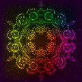 Ornate vector rainbow neon mandala shining Royalty Free Stock Photography