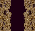 Ornate vintage burgundy background with gold lace. Template for the design of greeting cards or invitations. Royalty Free Stock Photo