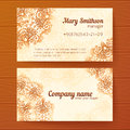 Ornate vintage business cards vector template beige Stock Photography