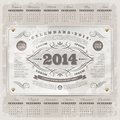 Ornate vintage calendar of lettering template design on a grunge background Royalty Free Stock Image