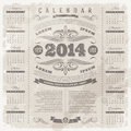 Ornate vintage calendar of lettering template design on a grunge background Stock Photo