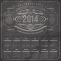 Ornate vintage calendar of template design on a grunge black background Royalty Free Stock Photo