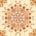 Ornate vintage circle pattern in mehndi style vector seamless Royalty Free Stock Photos