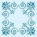 Ornate vintage filigree frame blue copy space Royalty Free Stock Image