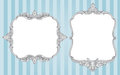 Ornate vintage frames two vector on a striped blue background Stock Photography