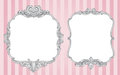Ornate vintage frames two vector on a striped pink background Royalty Free Stock Photo