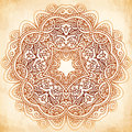 Ornate vintage vector background in mehndi style beige Royalty Free Stock Images