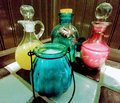 Ornate Whimsical Colored Jars Filled With Bath Crystals And Bubble Bath