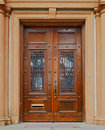Ornate wood doors Stock Photo