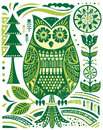 Ornate woodblock style owl vector illustration Stock Photo