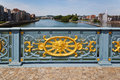 Ornated bridge railing in liege of a over the river meuse liège belgium Stock Photos