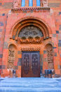 Ornated door of church saint hovhannes in abovyan city armenia Stock Photos