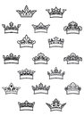 Ornated heraldic crowns set for heraldry design Royalty Free Stock Images