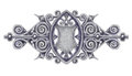 Ornated silver vintage decor with heraldic shield. Stock Photo