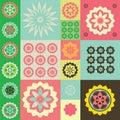 Ornement de couleur de vecteur des symboles de fleur Images libres de droits