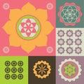 Ornement de vecteur des symboles de fleur de lotus Photographie stock