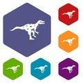 Ornithopod dinosaur icons set hexagon