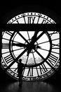 The Orsay museum (Musee d'Orsay) clock in black & white, Paris, Royalty Free Stock Photo