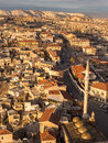 Ortahisar village in cappadocia turkey aerial view of at sunset taken from the castle tower near goreme Stock Photography
