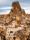 Ortahisar village and castle in cappadocia turkey overview of its near goreme Stock Photo