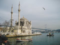 Ortakoy mosque at Bosporus river in Istanbul Royalty Free Stock Photo