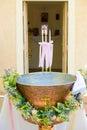 Orthodox Baptism Bowl prepared for christening ceremony Royalty Free Stock Photo