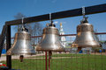 Orthodox bells closeup against the sky with clouds new jerusalem in town istra surroundings of moscow russia Royalty Free Stock Photography