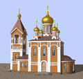 Orthodox cathedral three dimensional model of the church Royalty Free Stock Photos