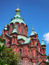 Orthodox cathedral uspenski largest church in western europe in helsinki finland against blue sky with copy space Royalty Free Stock Photos