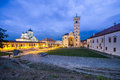 Orthodox and catholic cathedral in alba iulia at nightfall Stock Photography