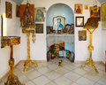 Orthodox chapel interior of typical greek in mountains Stock Photo