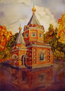 Orthodox christian church autumn landscape with the Stock Images