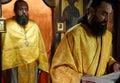 Orthodox christian priest monk during a prayer praying portrait
