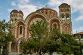 Orthodox church in asprovalta with nice decorative facade with two towers Stock Photography