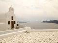 Orthodox church beautiful with bells at santorini island in greece Stock Photos