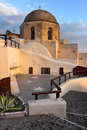 Orthodox Church with Brown Dome in the Evening, Oia, Santorini,
