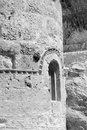 The orthodox church in the byzantine style fragment of loutraki greece black and white Royalty Free Stock Images