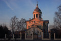Orthodox church cathedral at evening sunset Stock Images