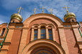 Orthodox church detail exterior in achairsky holy cross monastery omsk siberia Royalty Free Stock Photos