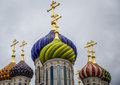 Orthodox church with domes of different colors Royalty Free Stock Image