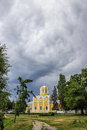 Orthodox church and dramatic cloudy sky stormy clouds over old photo taken in chernihiv ukraine of st michael fedir Royalty Free Stock Photo
