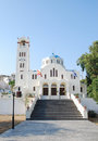Orthodox church in emporio santorini island greece Royalty Free Stock Images