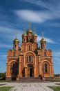 Orthodox church exterior in achairsky holy cross monastery omsk siberia Stock Photography