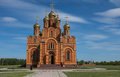 Orthodox church exterior in achairsky holy cross monastery omsk siberia Stock Image