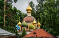 Orthodox church in forest with domes of different colors Royalty Free Stock Image