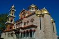 Orthodox church holy of saint george saint modestus in peristasi katerini grece northeast view Royalty Free Stock Image