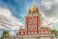 Orthodox church inside Novodevichy convent, iconic landmark in M Royalty Free Stock Photo