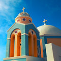 Orthodox church on the island of santorini greece Royalty Free Stock Image