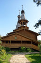 The orthodox church of logs with wooden domes timbered temple new martyrs and confessors russian Stock Image