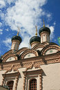 Orthodox church in moscow perspective up to the sky Stock Image